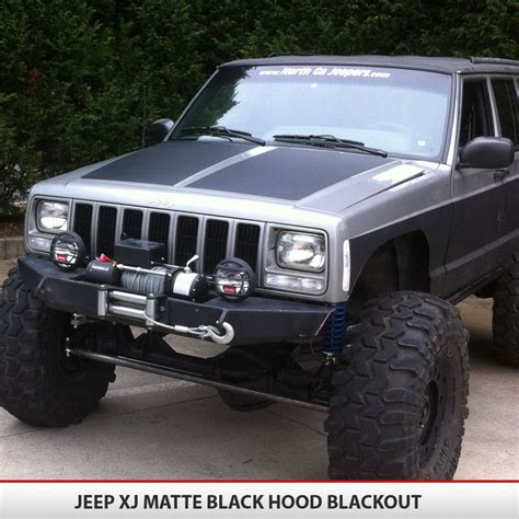 jeep cherokee xj grey jeep cherokee xj blackout hood alphavinyl