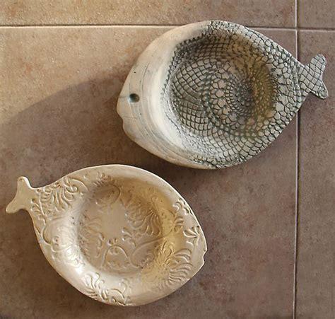 hand built ceramic textured fish plates creative jewish mom