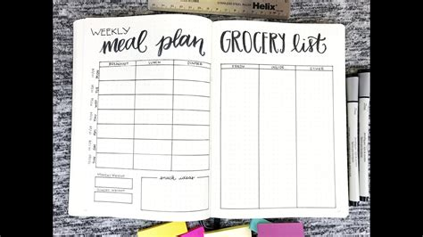 weekly meal planner grocery list youtube