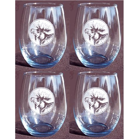 etched moose stemless red wine glass set