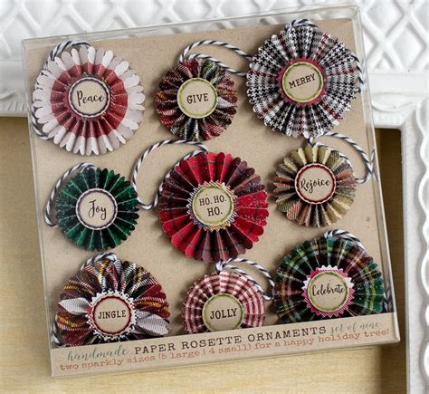 handmade paper rosette holiday ornaments cut  plaid