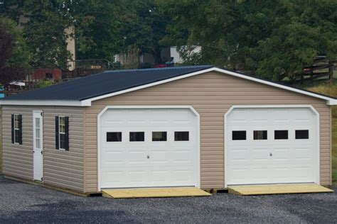Garage : 24x30 Vinyl Modular 2-car Garage