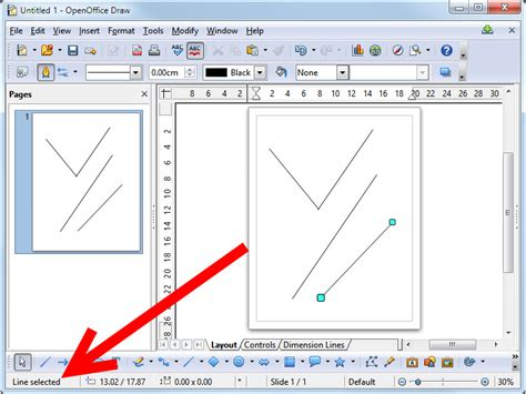 draw lines  open office draw  steps  pictures