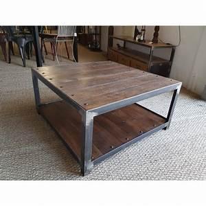 Table Basse Industrielle Carrée : table basse industrielle ~ Teatrodelosmanantiales.com Idées de Décoration
