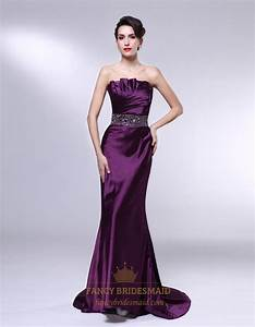 Eggplant Purple Formal Dress, Strapless Mermaid Floor ...