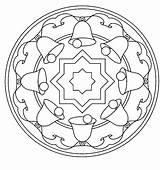 Mandala Coloring Bell Kleurplaten Sheets Kerstmis sketch template