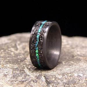 meteorite shavings with blue green lab opal inlay carbon With wedding ring made from meteorite