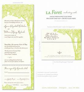 tree wedding invitations on 100 recycled paper la foret With all in one wedding invitations recycled