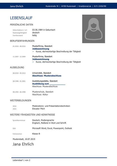 Vorlage Lebenslauf Ausbildung by Lebenslauf Muster 38 Kostenlose Muster Als