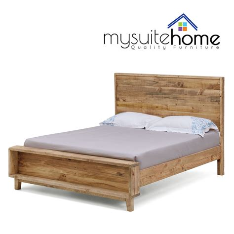 portland solid recycled pine timber doublequeenking size bed frame  slats ebay
