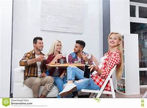 Young People Drink Coffee Shop, Friends Sitting Table ...