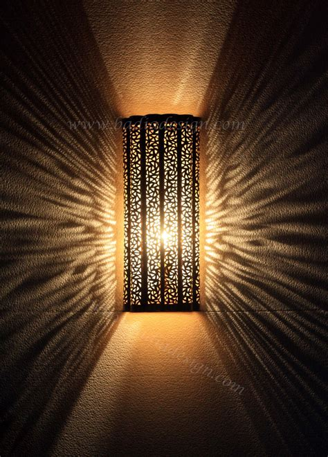 intricately designed moroccan brass wall sconce  badia
