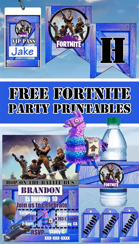 fortnite birthday party printables party invitations