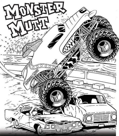 printable monster jam coloring pages monster mutt monster truck coloring pages truck