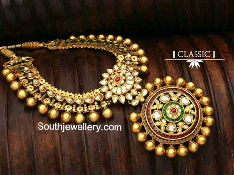 antique gold necklace indian jewelry pinterest