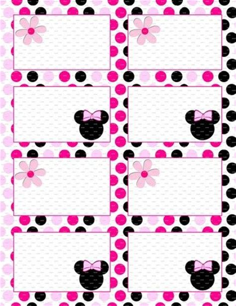 minnie mouse birthday  flat labels  folding