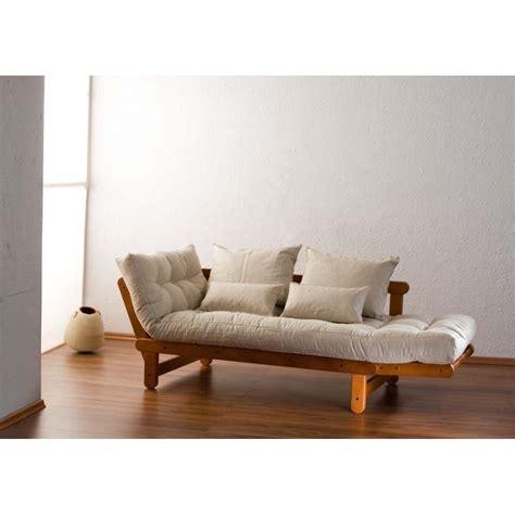 canapé lit bois banquette 135 x 190 cm avec matelas futon