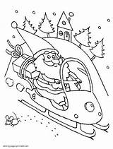 Coloring Snowmobile Santa Claus Template Library Clipart Popular sketch template
