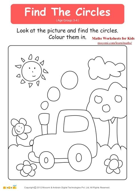 find the circles age group 3 4 look at the picture and find the circles colour them in