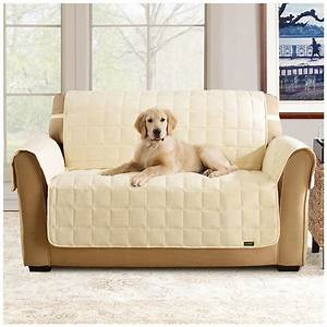 Sure fitr waterproof quilted suede sofa pet cover 292842 for Two dogs furniture covers
