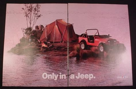 Magazine Ad For Jeep Cj Car, 1984, Camping On Small Island
