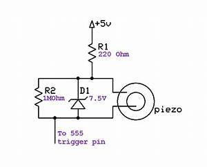 triggering a 555 timer with a piezo disc With circuit piezo