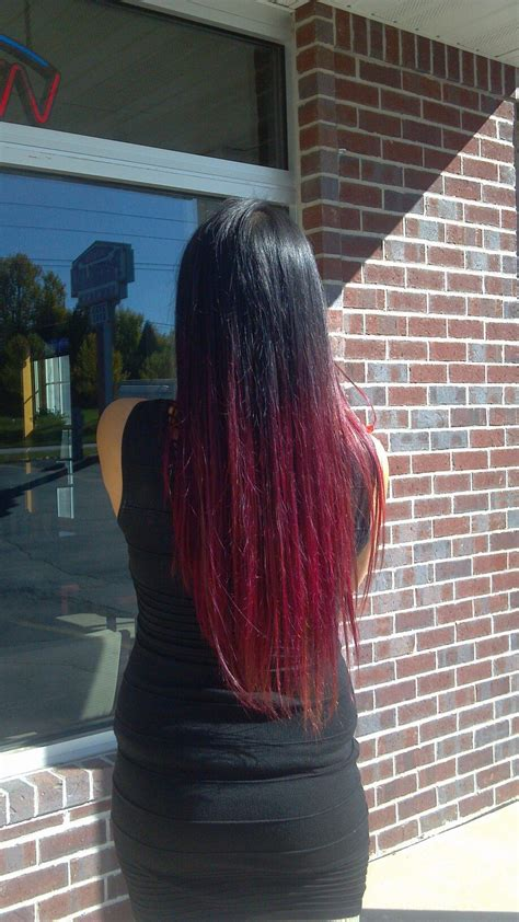 Black To Red And Pink Ombre Hair For Fall Long Hair Don