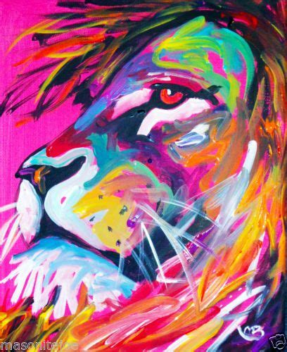 abstract original colorful canvas paintingx  lion