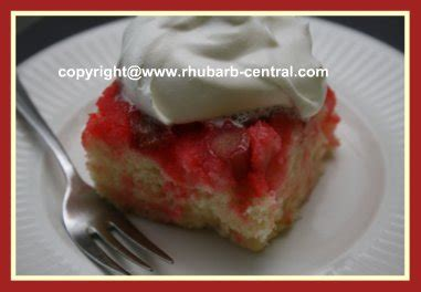 rhubarb upside  cake recipe  quick  easy