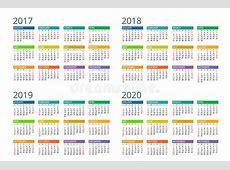 Calendário Para 2017, 2018, 2019, 2020 A Semana Começa
