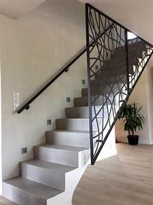 Escalier Droit En B U00e9ton Avec Garde