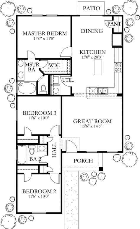 European Style House Plan 3 Beds 2 Baths 1200 Sq/Ft Plan