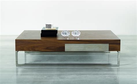 Contemporary Walnut Coffee Table with Storage Drawer and Chrome Legs Dallas Texas J&M 107A
