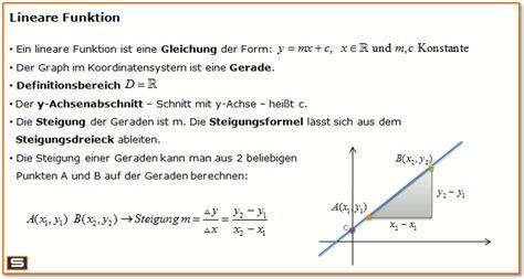 lineare funktionen erkl 228 rung steigungsdreieck y achsenabschnitt