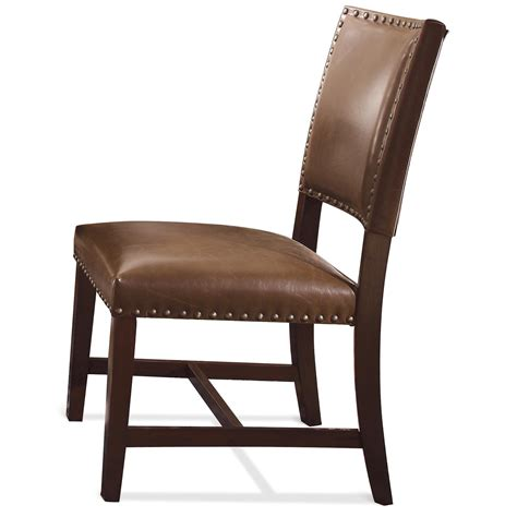 bonded leather upholstered parson chair with nailhead trim