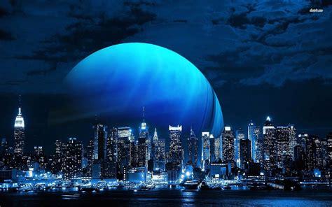 pianeta blu sopra la skyline   york city magic blue