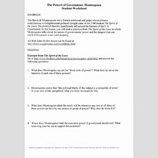 The Powers Of Government Montesquieu Student Worksheet Worksheet For 8th  12th Grade Lesson