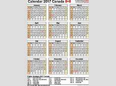 2017 Calendar Canada weekly calendar template