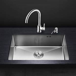 Kitchen Stainless Steel Manual Sink Above Counter Or