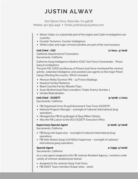 Resume Guide by Fbi Resume Template Exle And Guide Pdf Word