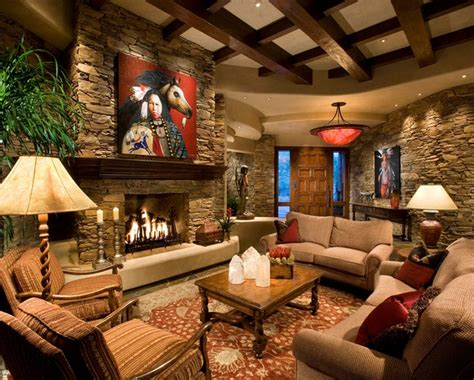 Interior Stone Wall In Country Style Living Room Fire Pit Sign Porch Swing Propane Troubleshooting Outdoor Seating Around How To Make A Out Of Rocks Custom Grates Chimney Furniture Sets