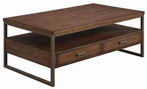 Ellery rustic brown metal coffee table from coaster for Rustic dark brown coffee table
