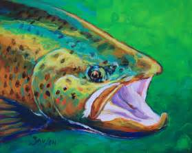 Janet Fish Artwork by Rainbow Trout Fly Fishing Art Print Signed By Watercolor