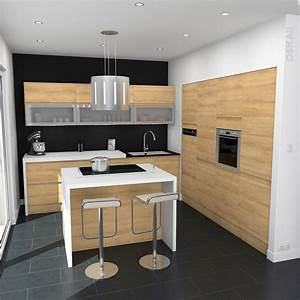 Cuisine en bois sans poignee ipoma chene naturel cuisine for Idee deco cuisine avec table a manger blanc et bois