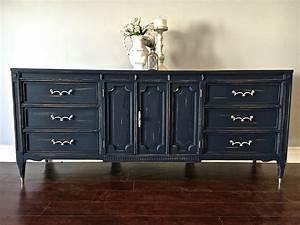 Shabby, Chic, Navy, Blue, U0026, Silver, Leaf, 9, Drawer, Dresser, Buffet, -, 475