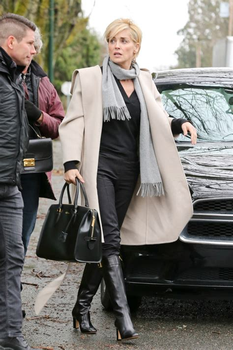sharon stone carries alexander mcqueen   set