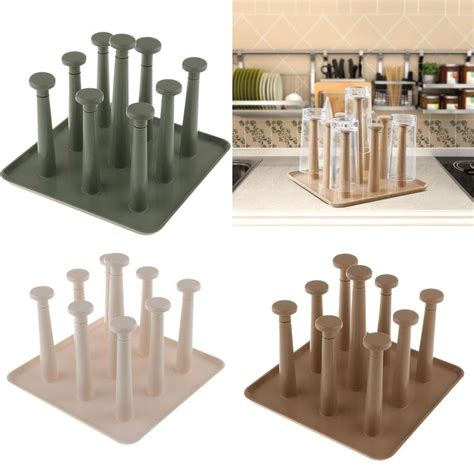 wooden dish rack kitchen drying holder drainer plate cup stand easy  assemble kitchen dining
