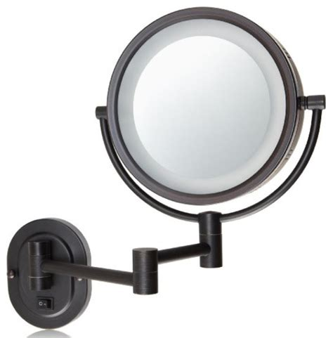 Two Sided Vanity Mirror jerdon hl65bzd hard wired 8 inch two sided swivel halo