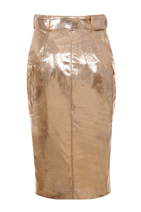 Clothing Skirts Kassiana Textured Gold Vegan Leather