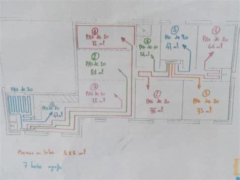 plan plain pied 4 chambres branchement 2 zones plancher chauffant sur pompe à chaleur